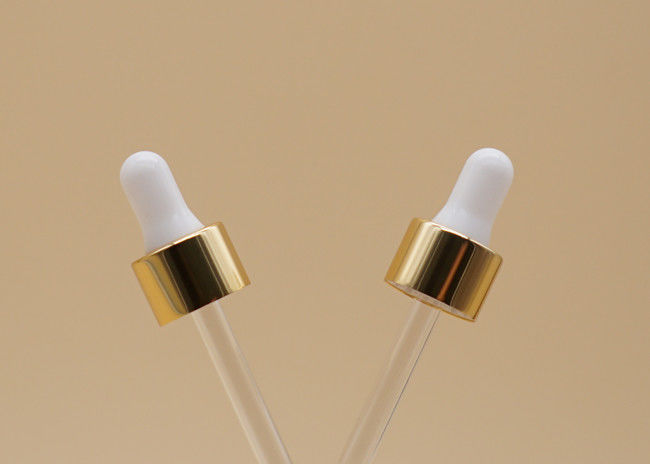 18 / 410 Essential Oil Dropper , Gold Collar Glass Droppers For Essential Oils
